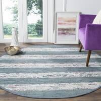 Safavieh Montauk Hand-Woven Flatweave White/ Grey Stripe Cotton Tassel Area Rug - 6' X 6' Round