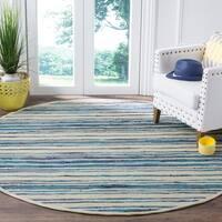 Safavieh Hand-Woven Rag Cotton Rug Ivory/ Blue Cotton Rug - 6' Round