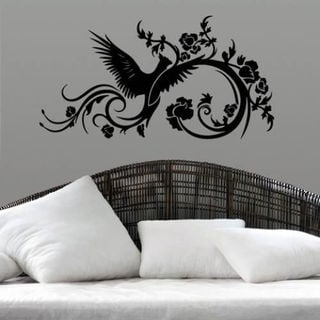 Phoenix Swirls Sticker Stylish Fashion Zoo Wall Decal Art Sticker Decal Size 22x30 Color Black