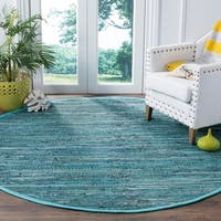 Safavieh Hand-Woven Rag Cotton Rug Turquoise/ Multicolored Cotton Rug - 6' Round