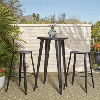 24-inch Round Black-Antique Gold Metal Indoor-Outdoor Bar Table Set with 2 Distressed Backless Saddle Seat Barstools