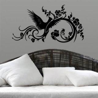 Phoenix Swirls Sticker Stylish Fashion Zoo Wall Decal Art Sticker Decal size 33x45 Color Black