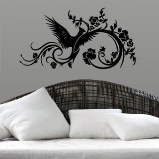 Phoenix Swirls Sticker Stylish Fashion Zoo Wall Decal Art Sticker Decall size 44x60 Color Black