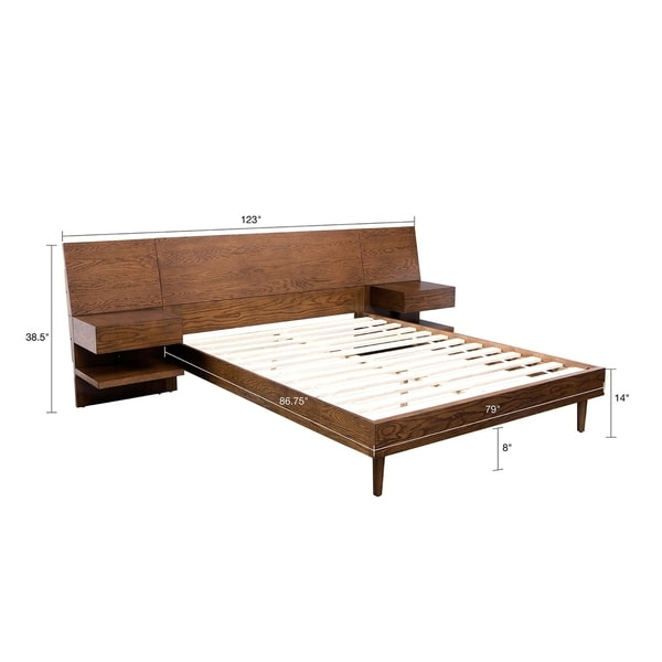 INK+IVY Clark Pecan Bed with Two Nightstands