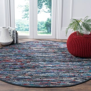 Safavieh Hand-Woven Rag Cotton Rug Blue/ Multicolored Cotton Rug (6' Round)