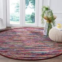 Safavieh Hand-Woven Rag Cotton Rug Multicolored Cotton Rug - multi - 6' Round