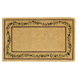 Green/Brown Coir Orange Branch Border Doormat