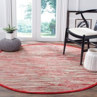 Safavieh Hand-Woven Rag Cotton Rug Red/ Multicolored Cotton Rug (6' Round)