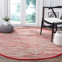 Safavieh Hand-Woven Rag Cotton Rug Red/ Multicolored Cotton Rug - 6' Round