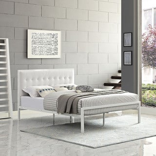 Millie Upholstered White Vinyl Platform Bed