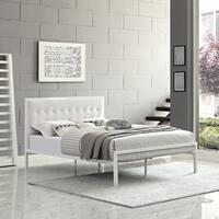 Millie Upholstered White Vinyl Platform Bed