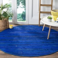Hand Woven Matador Blue Leather Rug 6 Round Free