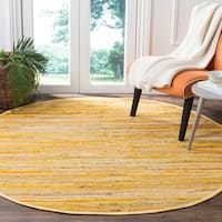 Safavieh Hand-Woven Rag Cotton Rug Yellow/ Multicolored Cotton Rug - 6' Round