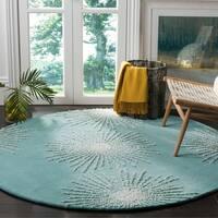Safavieh Soho Handmade Contemporary Burst Light Teal/ Multi Wool Rug - 6' x 6' Round