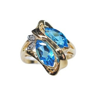 Kabella 14k Yellow Gold Marquise Blue Topaz and Diamond Estate Ring (H-I, I2-I3)