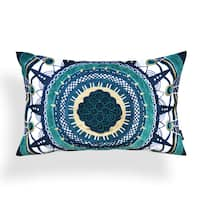 Mollie Green Cotton 14-inch x 20-inch Aztec Pillow