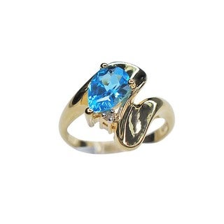 Kabella 14k Yellow Gold Blue Topaz and Diamond Accents Estate Ring