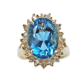 Kabella 14kt Blue Topaz and Diamond Ring