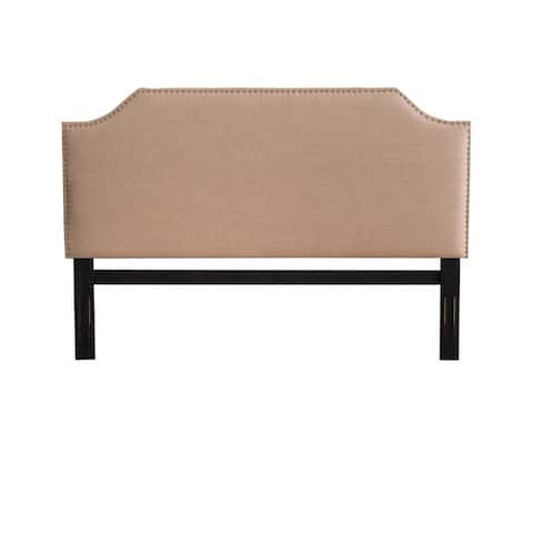 Josseline Cushioned Scooped Edge Tan Fabric King Headboard