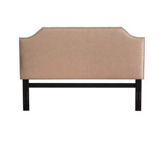 Josseline Cushioned Scooped Edge Tan Fabric King Headboard
