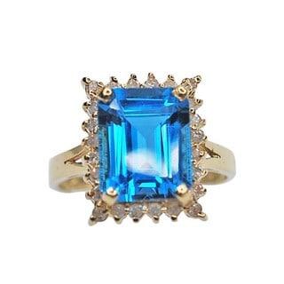 Kabella 14k Yellow Gold Emerald-Cut Blue Topaz and 1/4ct TDW Diamond Estate Ring