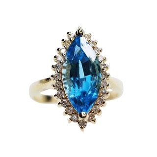 Kabella 14k Yellow Gold Marquis-Shaped Blue Topaz and 1/3ct TDW Diamond Ring (H-I, I2-I3)