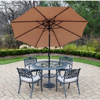 Dining Set with Round Table and 4 Cushioned Chairs, Umbrella and Stand