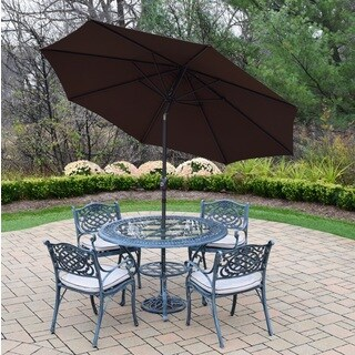 Dining Set with Table and 4 Cushioned Chairs with Umbrella and Stand