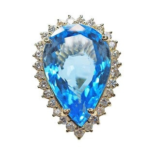 Kabella 14k Yellow Gold Pear Shaped Blue Topaz and 1 1/10ct TDW Diamond Estate Ring
