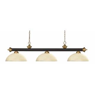 Z-lite Riviera Bronze & Satin Gold Dome Golden Mottle 3 Light Billiard Light