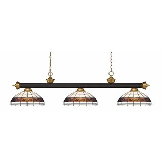 Riviera Bronze & Satin Gold Multi Colored Tiffany-style 3 Light Billiard Light