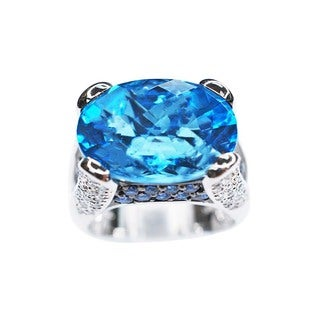 Kabella 18k White Gold Blue Topaz, Sapphires, and 2/5ct TDW Diamond Estate Ring