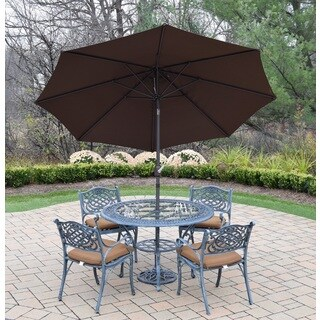 Dining Set with Round Table, 4 Cushioned Chairs, Umbrella and Stand