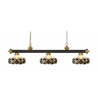 Z-lite Riviera Bronze & Satin Gold Multi Colored Tiffany-style 3 Light Billiard Light - Bronze/Satin Gold