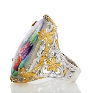 One-of-a-kind Michael Valitutti Palladium Silver Painted Mother-of-pearl Shell and White Zircon Flower and Beetle Ring