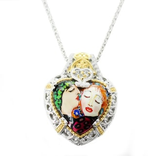 One-of-a-kind Michael Valitutti Palladium Silver Heart Painted Mother-of-pearl Shell and White Zircon Kiss Pendant