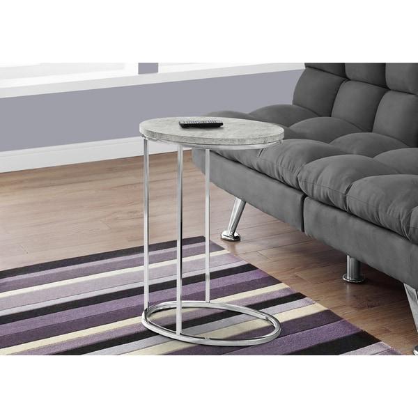 Grey Metal and Veneer Accent Snack Table