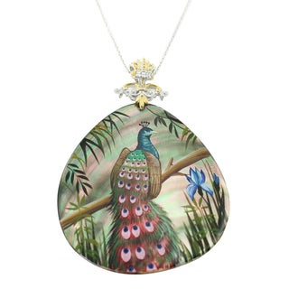 One-of-a-kind Michael Valitutti Palladium Silver Painted Mother-of-pearl Shell and White Zircon Peacock Pendant
