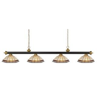 Avery Home Lighting Riviera Bronze & Satin Gold Multi Colored Tiffany-style 4 Light Billiard Light