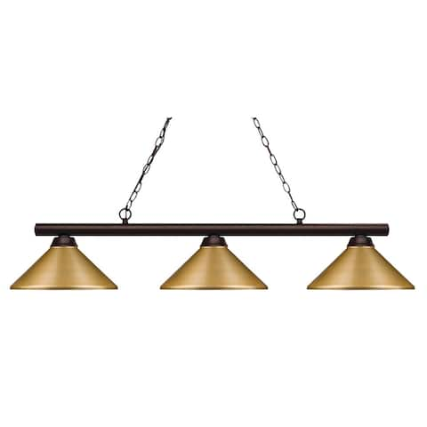 Avery Home Lighting Shooter Satin Gold 3 Light Billiard Light