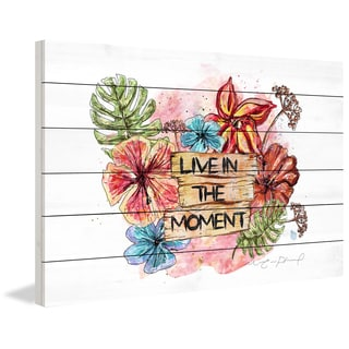Marmont Hill - 'Live in the Moment' by Marie-Eve Pharand Painting Print on White Wood