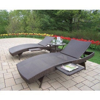 Merit Resin Wicker Chaise Lounge Set with Two Foldable Chaise Lounges with Built In Trays and Side Table