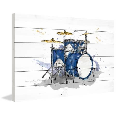 Marmont Hill - Handmade Drum Bleu Royal Painting Print on White Wood