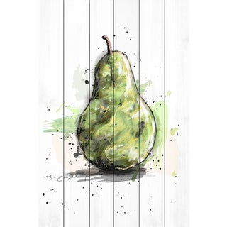 Marmont Hill - 'Poire Verte 3' by Marie-Eve Pharand Painting Print on White Wood