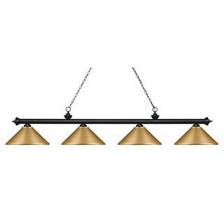 Z-lite Riviera Matte Black Satin Gold 4 Light Island/Billiard Light - Matte Black/Satin Gold