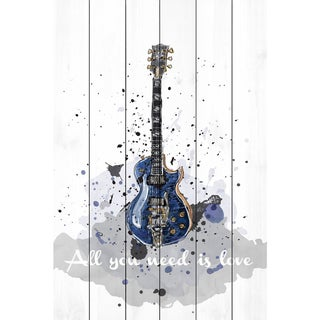 Marmont Hill - Handmade Guitare Bleue Painting Print on White Wood