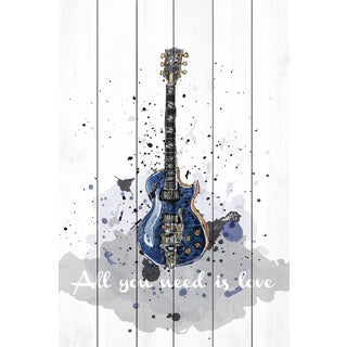 Marmont Hill - 'Guitare Bleue' by Marie-Eve Pharand Painting Print on White Wood