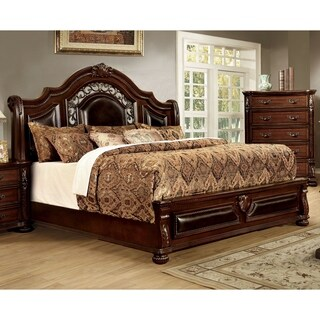 Furniture of America Pristine Leatherette and Cherry Brown Bed Frame