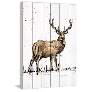 Marmont Hill - 'Cerf Adulte' by Marie-Eve Pharand Painting Print on White Wood