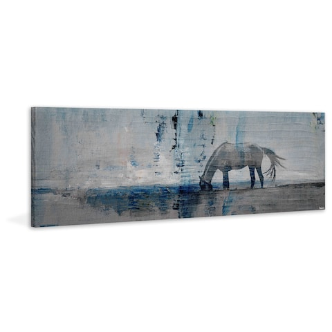 Handmade Parvez Taj - Horse Grazing Blue Print on Wrapped Canvas